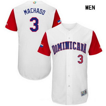 Men's Stitched Dominican Republic Baseball #3 Manny Machado Majestic White 2017 World Baseball Classic Authentic Jersey