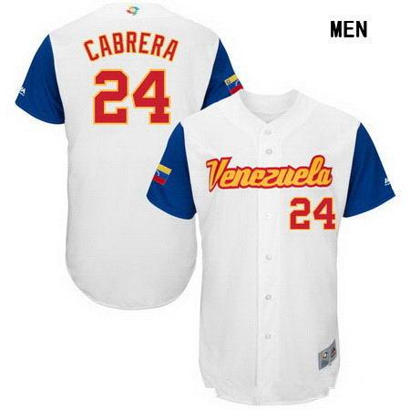 Men's Stitched Venezuela Baseball #24 Miguel Cabrera Majestic White 2017 World Baseball Classic Authentic Jersey