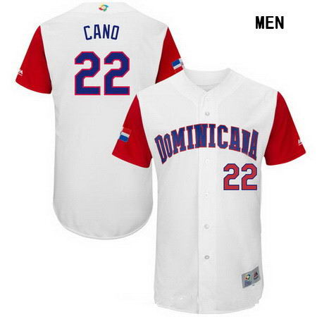 Men's Stitched Dominican Republic Baseball #22 Robinson Cano Majestic White 2017 World Baseball Classic Authentic Jersey