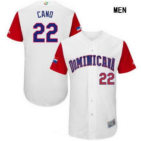Men's Stitched Dominican Republic Baseball #22 Robinson Cano Majestic White 2017 World Baseball Classic Authentic Jersey