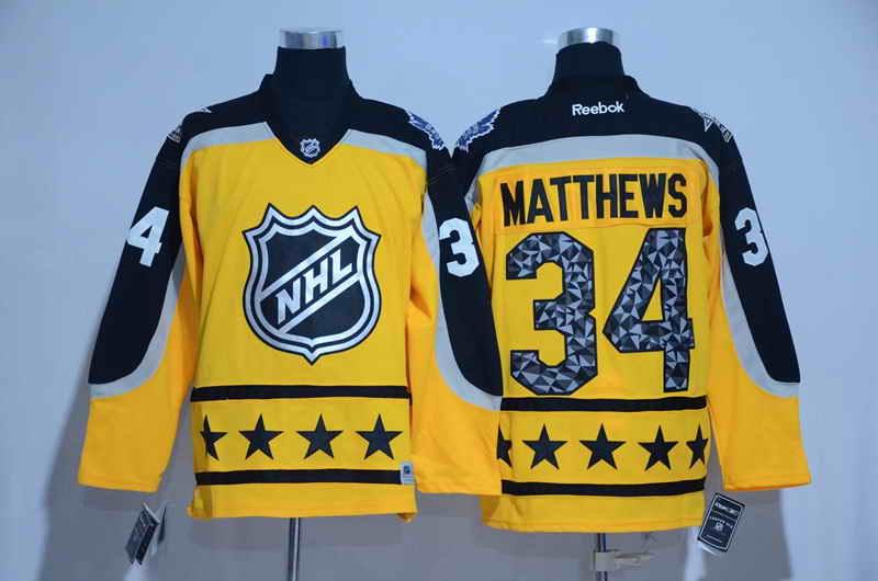 Men's Toronto Maple Leafs #34 Auston Matthews Yellow 2017 All Star NHL Jersey