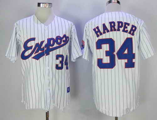 Men's Montreal Expos #34 Bryce Harper Majestic 1982 White Pinstripe MLB Cooperstown Collection Stitched Jersey