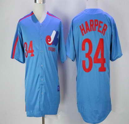 Men's Montreal Expos #34 Bryce Harper Majestic 1982 Royal Blue MLB Cooperstown Collection Stitched Jersey