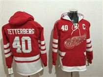 Red Wings #40 Henrik Zetterberg Red All Stitched Hoody Sweatshirt