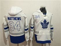 Maple Leafs #34 Auston Matthews White All Stitched Hoody Sweatshirt