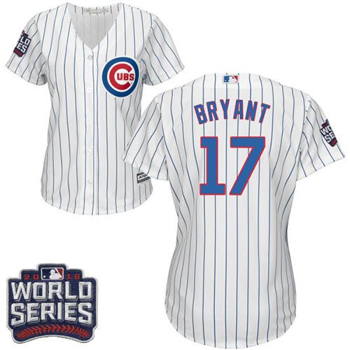 Cubs #17 Kris Bryant White 2016 World Series Bound Women's Stitched Jersey