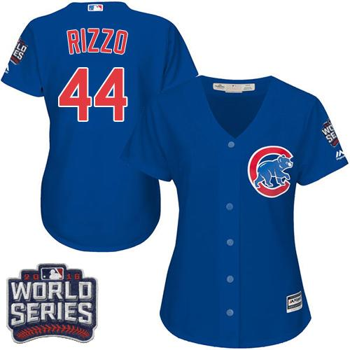 Chicago Cubs #44 Anthony Rizzo Blue Alternate 2016 World Series Bound Women's Stitched MLB Jersey