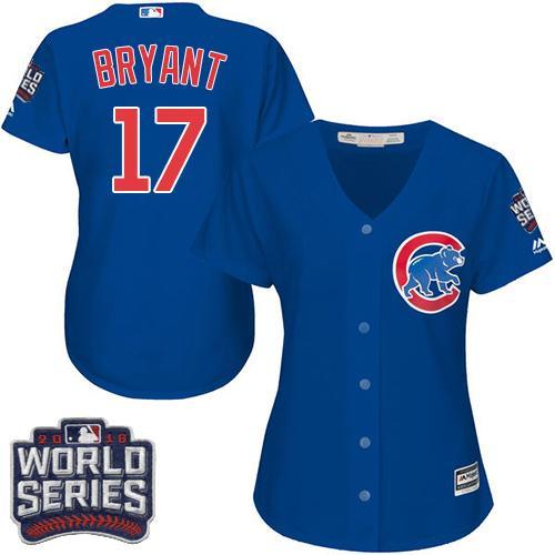 Cubs #17 Kris Bryant Blue Alternate 2016 World Series Bound Women's Stitched Jersey