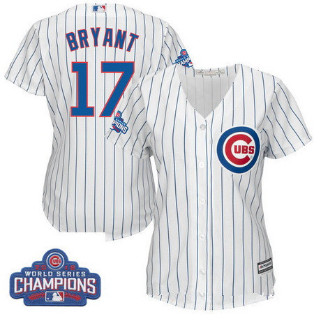 Women's Chicago Cubs #17 Kris Bryant Majestic Home White 2016 World Series Champions Women Jersey
