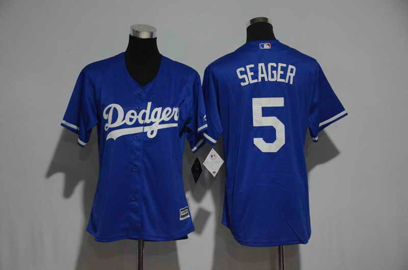 Women's Stitched Los Angeles Dodgers #5 Corey Seager Royal Blue Cool Base Baseball Jersey