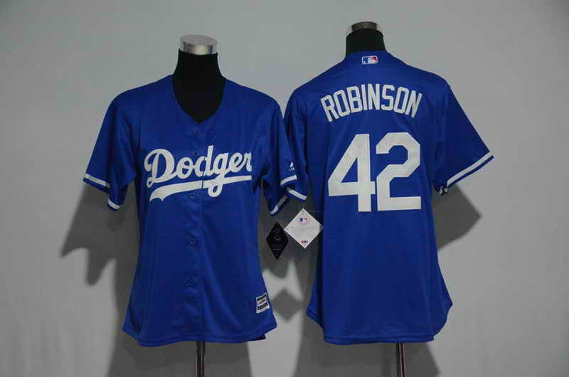 Women's Stitched Los Angeles Dodgers #42 Jackie Robinson Royal Blue Cool Base Baseball Jersey