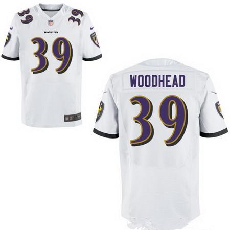 Men's Baltimore Ravens #39 Danny Woodhead White NFL Nike Stitched Elite Jersey