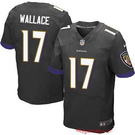 Men's Baltimore Ravens #17 Mike Wallace Black Alternate NFL Nike Stitched Elite Jersey