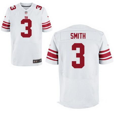 Men's New York Giants #3 Geno Smith White Nike Stitched Elite Jersey