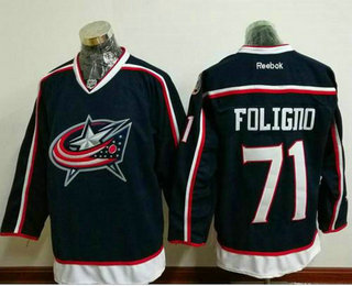 Men's Stitched NHL Columbus Blue Jackets #71 Nick Foligno Navy Blue Home Reebok Hockey Jersey