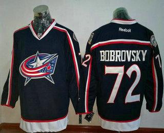 Men's Stitched NHL Columbus Blue Jackets #72 Sergei Bobrovsky Navy Blue Home Reebok Hockey Jersey