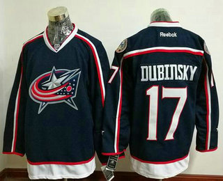 Men's Stitched NHL Columbus Blue Jackets #17 Brandon Dubinsky Navy Blue Home Reebok Hockey Jersey