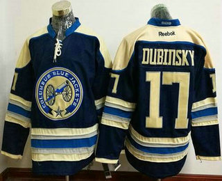 Men's Stitched NHL Columbus Blue Jackets #17 Brandon Dubinsky Blue Third Reebok Hockey Jersey