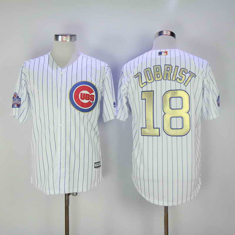 Women's Chicago Cubs #18 Ben Zobrist White World Series Champions Gold Stitched MLB Majestic