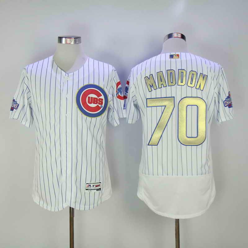 Women's Chicago Cubs #70 Joe Maddon White World Series Champions Gold Stitched MLB Majestic 2017 Cool Base Jersey