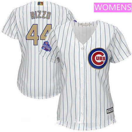 Women's Chicago Cubs #44 Anthony Rizzo White World Series Champions Gold Stitched MLB Majestic 2017 Cool Base Jersey