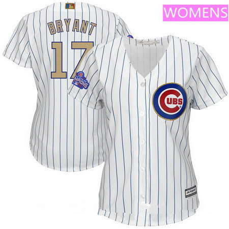 Women's Chicago Cubs #17 Kris Bryant White World Series Champions Gold Stitched MLB Majestic 2017 Cool Base Jersey