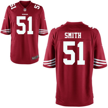 Men's Stitched 2017 NFL Draft San Francisco 49ers #51 Malcolm Smith Scarlet Red Team Color NFL Nike Game Jersey