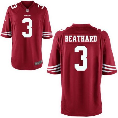 Men's Stitched 2017 NFL Draft San Francisco 49ers #3 C. J. Beathard Scarlet Red Team Color NFL Nike Game Jersey
