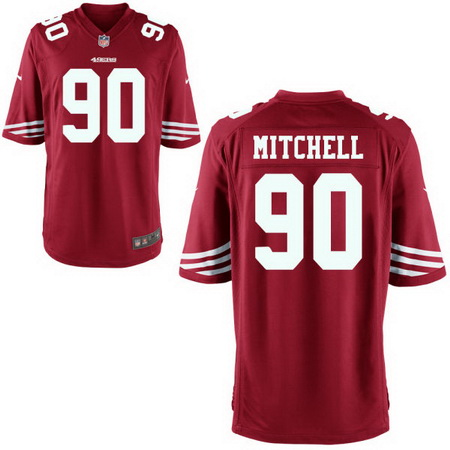 Men's Stitched 2017 NFL Draft San Francisco 49ers #90 Earl Mitchell Scarlet Red Team Color NFL Nike Game Jersey