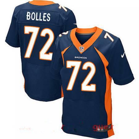 Men's Stitched Denver Broncos #72 Garett Bolles Blue Nike Elite Jersey