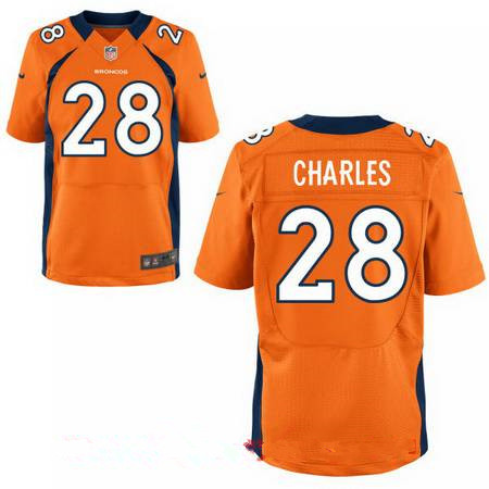 Men's Stitched Denver Broncos #28 Jamaal Charles Orange Nike Elite Jersey