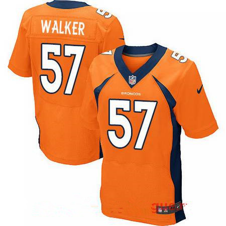 Men's Stitched Denver Broncos #57 DeMarcus Walker Orange Nike Elite Jersey