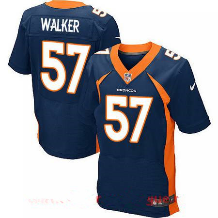 Men's Stitched Denver Broncos #57 DeMarcus Walker Blue Nike Elite Jersey