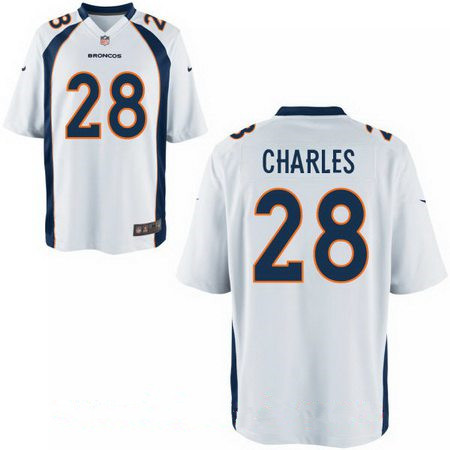 Men's Stitched Denver Broncos #28 Jamaal Charles White Nike Elite Jersey