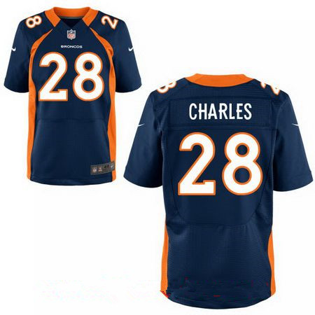Men's Stitched Denver Broncos #28 Jamaal Charles Blue Nike Elite Jersey