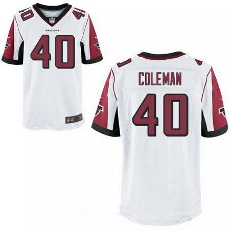 Men's Atlanta Falcons #40 Derrick Coleman Stitched White Nike Elite Jersey