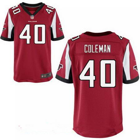 Men's Atlanta Falcons #40 Derrick Coleman Stitched Red Nike Elite Jersey
