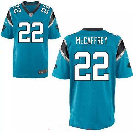 Men's 2017 NFL Draft Carolina Panthers #22 Christian McCaffrey Stitched Light Blue Nike Elite Jersey