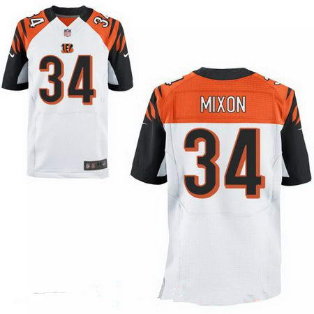 Men's 2017 NFL Draft Cincinnati Bengals #34 Joe Mixon Stitched White Nike Elite Jersey