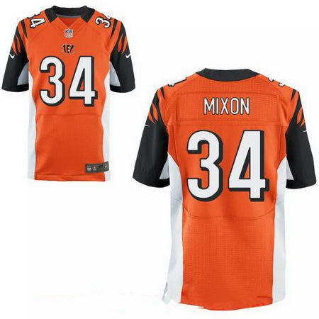 Men's 2017 NFL Draft Cincinnati Bengals #34 Joe Mixon Stitched Orange Nike Elite Jersey