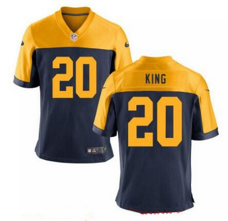 Men's 2017 NFL Draft Green Bay Packers #20 Kevin King Stitched Navy Blue Gold Alternate Nike Elite Jersey