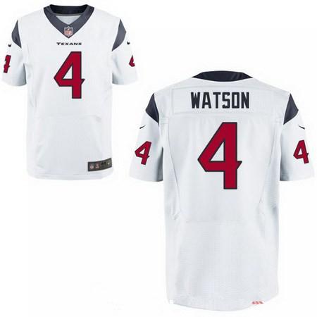 Men's 2017 NFL Draft Houston Texans #4 Deshaun Watson Stitched White Nike Elite Jersey