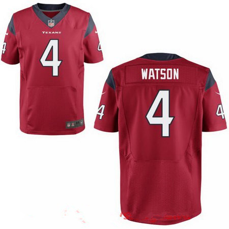 Men's 2017 NFL Draft Houston Texans #4 Deshaun Watson Stitched Red Nike Elite Jersey