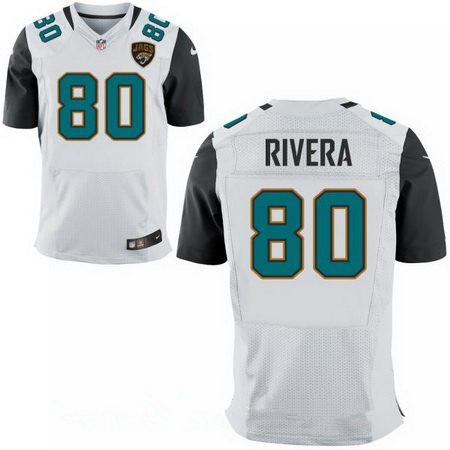 Men's Jacksonville Jaguars #80 Mychal Rivera Stitched White Road Nike Elite Jersey