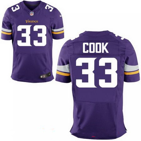 Men's 2017 NFL Draft Minnesota Vikings #33 Dalvin Cook Stitched Purple Nike Elite Jersey