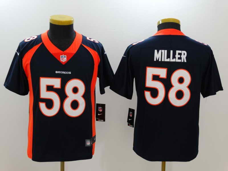 Youth Denver Broncos #58 Von Miller Navy Vapor Untouchable Nike Limited Stitched Jersey