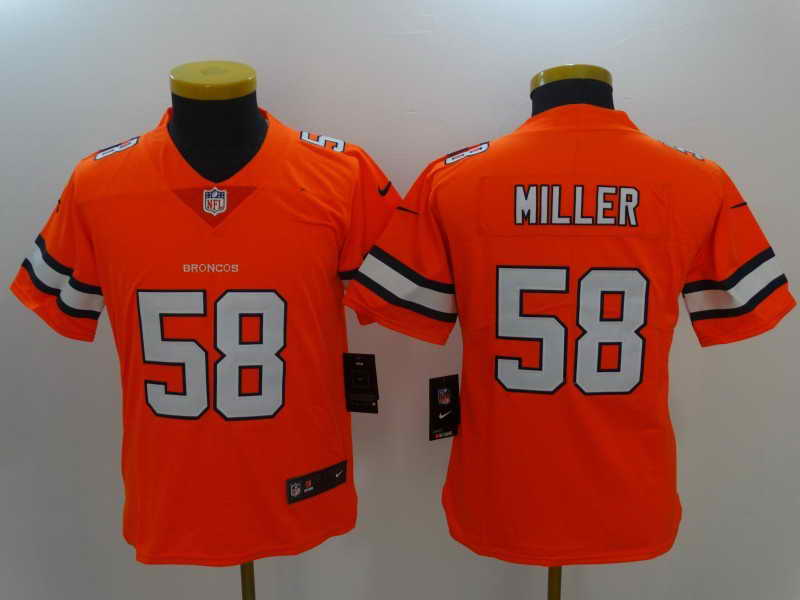 Youth Denver Broncos #58 Von Miller Orange Color Rush Nike Limited Stitched Jersey
