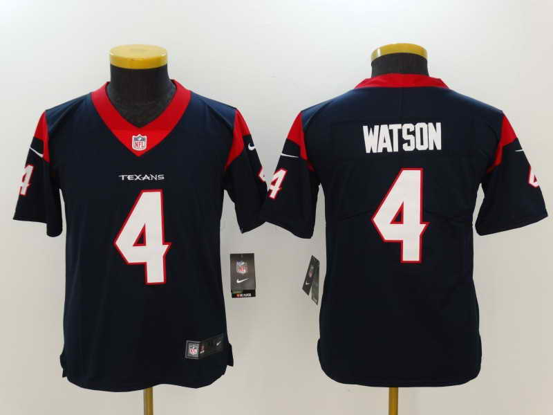 Youth Huston Texans #4 Deshaun Watson Navy Vapor Untouchable Player Nike Limited Stitched Jersey