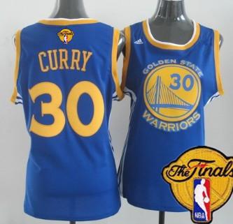 Women's Golden State Warriors #30 Stephen Curry Blue 2017 The NBA Finals Patch Jersey