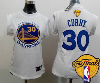 Women's Golden State Warriors #30 Stephen Curry White 2017 The NBA Finals Patch Jersey